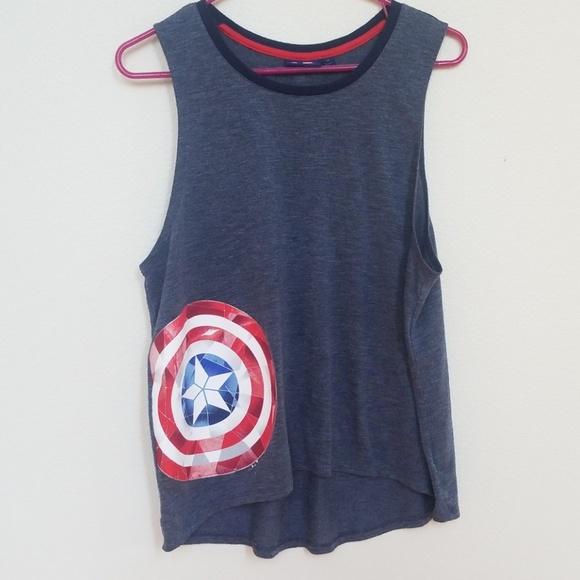 76dbe9d7a4bab EUC Marvel Captain America Shield Muscle Tank M. M 5b9296c89519960a55e03725